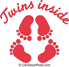Twins inside with baby footprint