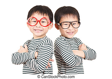 Twins smiling on white background - Two brother smiling on...