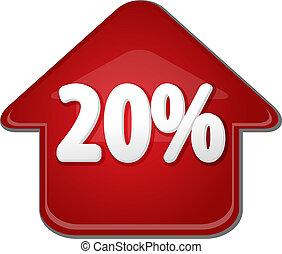 twintig, procent, op, omhoog, richtingwijzer, bel, illustratie