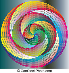 Twirl, multicolored Rainbow Circles - Rainbow Spiral Wave...