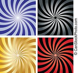 Twirl sunburst background templates - vector