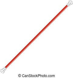 Twirling baton in red and silver design on white background