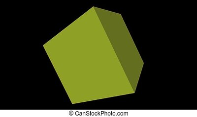 On this footage is green cube, which is spinning.