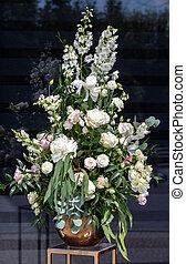 twist, rosen, blumengebinde, -, weißes, eindrucksvoll, ...