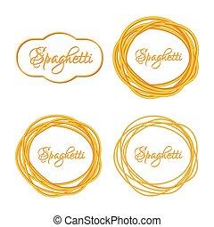 twisted, 現実的, パスタ, ロゴ, セット, 紋章, スパゲッティ, 円, フレーム