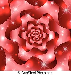Twisted and ribbed abstract flower - Red twisted and ribbed...