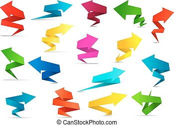 Twisted arrow banners in origami style