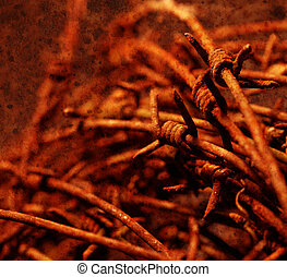 Close up of a twisted barb wire