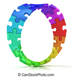 Twisted circle of colorful puzzles - Twisted circle of...