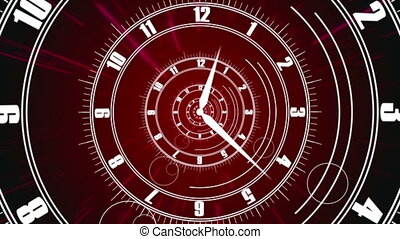 """Twisted clock face. Time concept"" - ""Twisted clock face...."