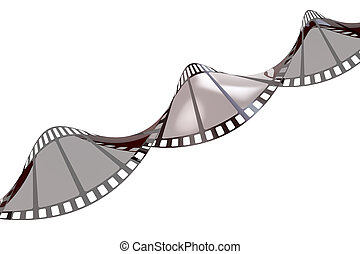 Twisted empty film strip, 3D rendering