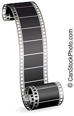 twisted film strip roll for photo or video on white ...