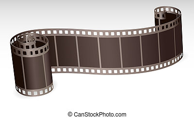 twisted film strip roll for photo or video on white...