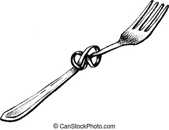 twisted fork - hand drawn, sketch, vector illustration of ...