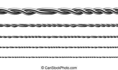 Twisted Iron Wire Seamless Pattern Set Vector