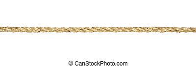Twisted manila rope isolated on white - A straight line of ...