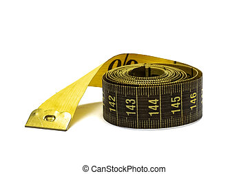 Twisted measuring tape isolated on white background