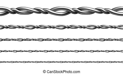 Twisted Metallic Wire Seamless Pattern Set Vector