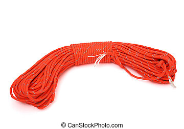 twisted paracord isolated on white
