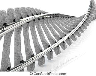 Twisted railway isolated on white background.