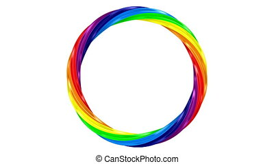 Twisted rainbow ring on white background. isolated 3d render