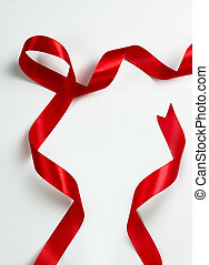 Twisted Red ribbon frame on white