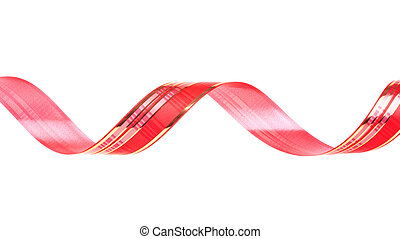 Twisted red ribbon isolated on white background