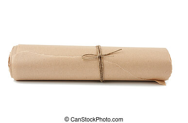 twisted roll of brown paper tied with a rope