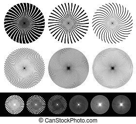 Twisted starburst, converging lines element set. Vector.