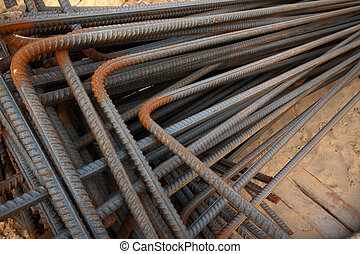 twisted steel construction materials stacked together