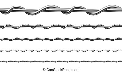 Twisted Steel Wire Seamless Pattern Set Vector