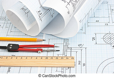 twisted technical drawing and tools