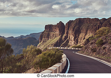 Twisting and winding roads going up the mountains. Philippine Islands.