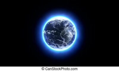 Twisting glowing earth on a black background