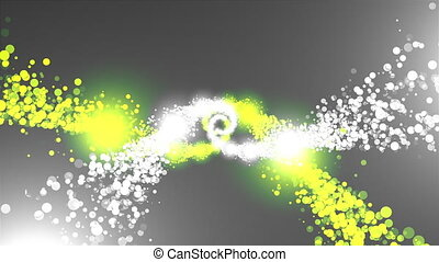 Twisting into a spiral of sparkling particles. 3D rendering particles of rotation, computer generated background