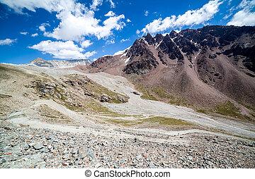 Twisting mountain road in Kirghizia
