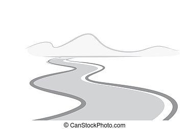 Twisting road to mountains.