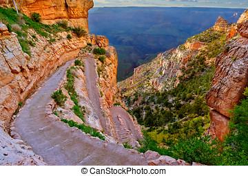 Twisting South Kaibab Trail at Grand Canyon Arizona - A view...