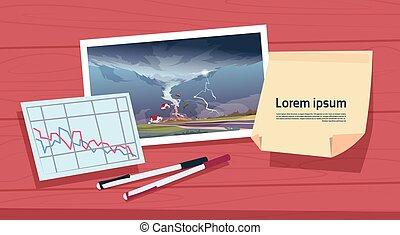 Twisting Tornado Image Of Hurricane Landscape And Damage Statistic Graph, Storm Waterspout In Countryside Natural Disaster Concept