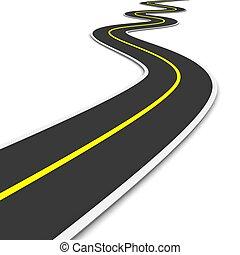 twisty, road., 3d, representado, illustration.