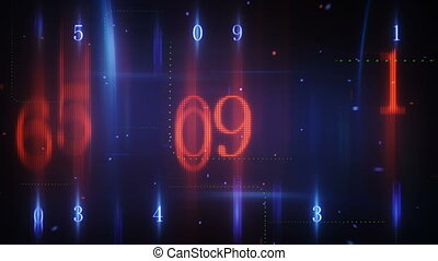 twitching glowing numerals loopable background