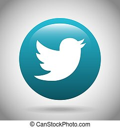 twiter classic emblem icon vector illustration design