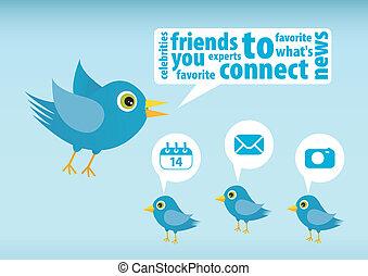Twitter bird - Illustration of Twitter Bird on white...