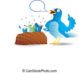 Very talkative twitter bird giving a speech to its hungry kids.