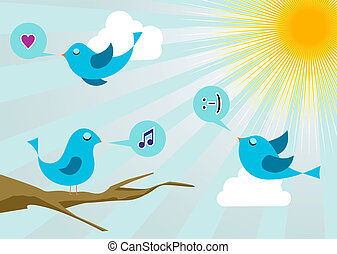 Twitter birds morning communication. Social media network connection concept
