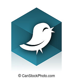 twitter blue cube icon, modern design web element
