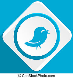 twitter blue flat design modern icon for web and mobile app