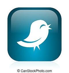 twitter blue glossy internet icon - blue glossy web icon