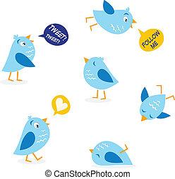 twitter, boodschap, vogels, set