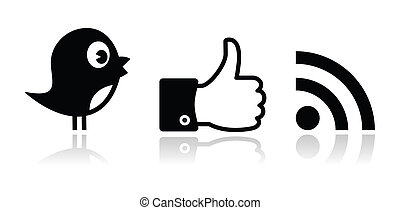 Twitter, Facebook, RSS black glossy